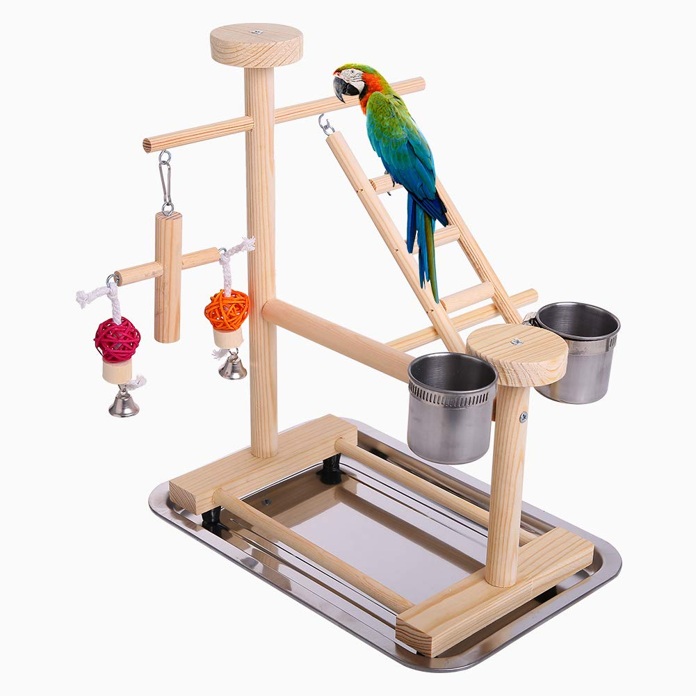 QBLEEV Parrot Playstand Perch Bird Play Stand Small Birds Play Gym Cockatiel Playground Platform Hanging Bell Swing Ladders Toys with Birdcage Food Dish Feeder Cup for Small Animals Hamsters Finch
