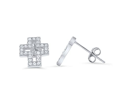 3c3c73c6f Image Unavailable. Image not available for. Color: Sterling Silver Cz Cross  Stud Earrings ...