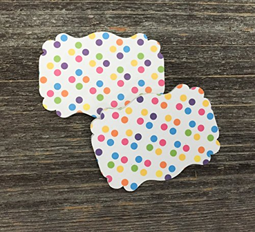 50 Blank Confetti Polka Dot Party Scalloped Edge Bracket Hang Party Wedding Baby Gift Tags Tag (Dot Polka Tags)