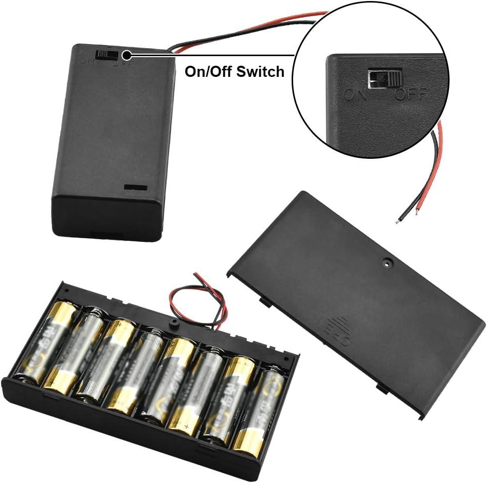 TANCUDER 1 PCS Caja de Almacenamiento de Bater/ía de 8 Ranuras y 4 PCS Bater/ía Titular de 2 Ranuras Caja de Pilas de Pl/ástico 1.5V AA Portapilas con Cables de Conector y Tapas para Almacenar Bater/ías