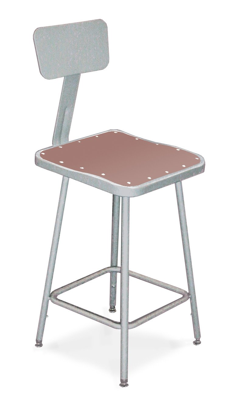National Public Seating 6330B Steel Stool with 30'' Square Hardboard Seat and Backrest, Grey