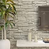 HANMERO Super Large Retro Imitation Gray Brick Stone Block Textured Vinyl Wall Paper Long Murals Rolls Living/Bedroom/TV Backdrop Home Decor 20.8'' x 393.7''