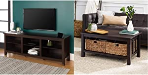 Walker Edison Wren Classic 6 Cubby TV Stand for TVs up to 80 Inches, 70 Inch, Espresso & Alayna Mission Style Two Tier Coffee Table with Rattan Storage Baskets, 40 Inch, Espresso
