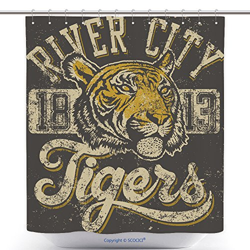 Mascot Costumes Ebay (Stylish Shower Curtains Vector Three Color Retro Tigers Athletic Design Complete With Tiger Head Mascot Illustration 131192765 Polyester Bathroom Shower Curtain Set With Hooks)