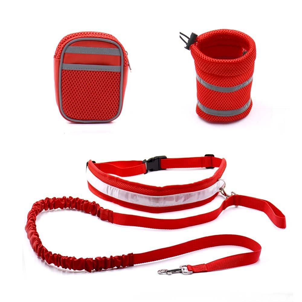 Red, M   Elastic Belt Strap Hands Free Dog Walking Leash Pets Leash Running Leash with Reflective Strip +Elastic Leash+Drinking Holder
