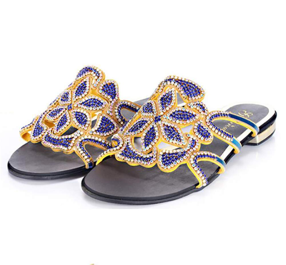 bluee Women's Slippers Summer Fashion Glittering Diamond Sandals for Beach, Party,Wedding Reception