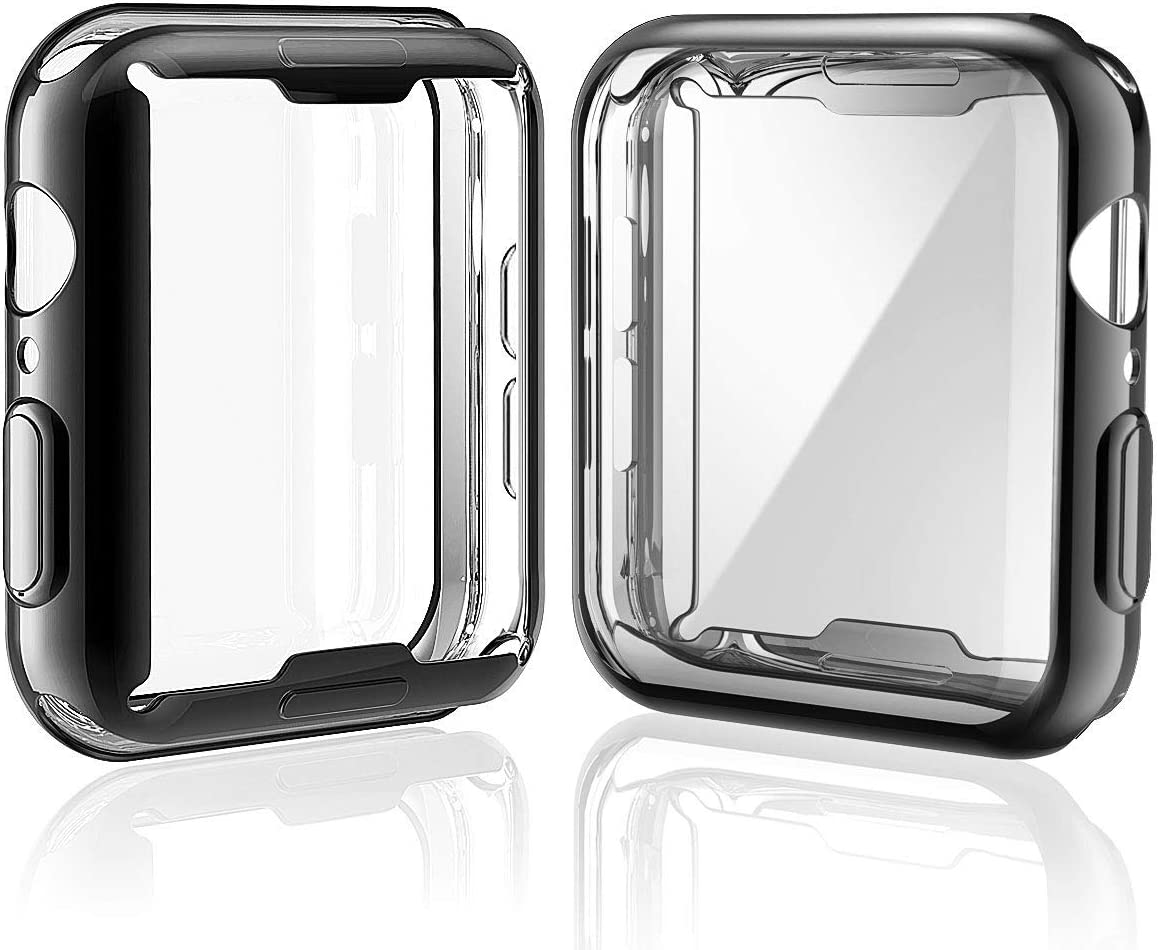 [2-Pack] Julk Case for Apple Watch Series 5 / Series 4 Screen Protector 44mm, 2019 New iWatch Overall Protective Case TPU HD Ultra-Thin Cover for Series 5/4 (1 Black+1 Transparent)