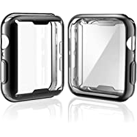 [2-Pack] Julk Case for Apple Watch Series 5 / Series 4 Screen Protector 40mm, 2019 New iWatch Overall Protective Case TPU HD Ultra-Thin Cover for Series 5/4 (1 Black+1 Transparent)