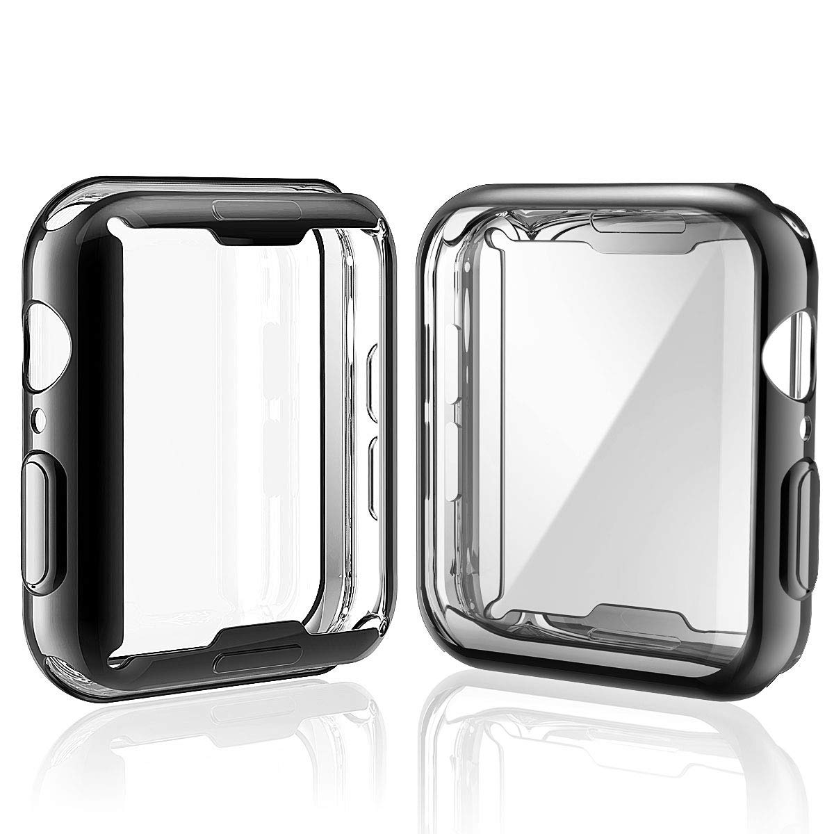 [2-Pack] Julk Case for Apple Watch Series 4 Screen Protector 44mm, 2018 New iWatch Overall Protective Case TPU HD Black Ultra-Thin Cover for Apple Watch Series 4 (1 Black+1 Transparent) by Julk