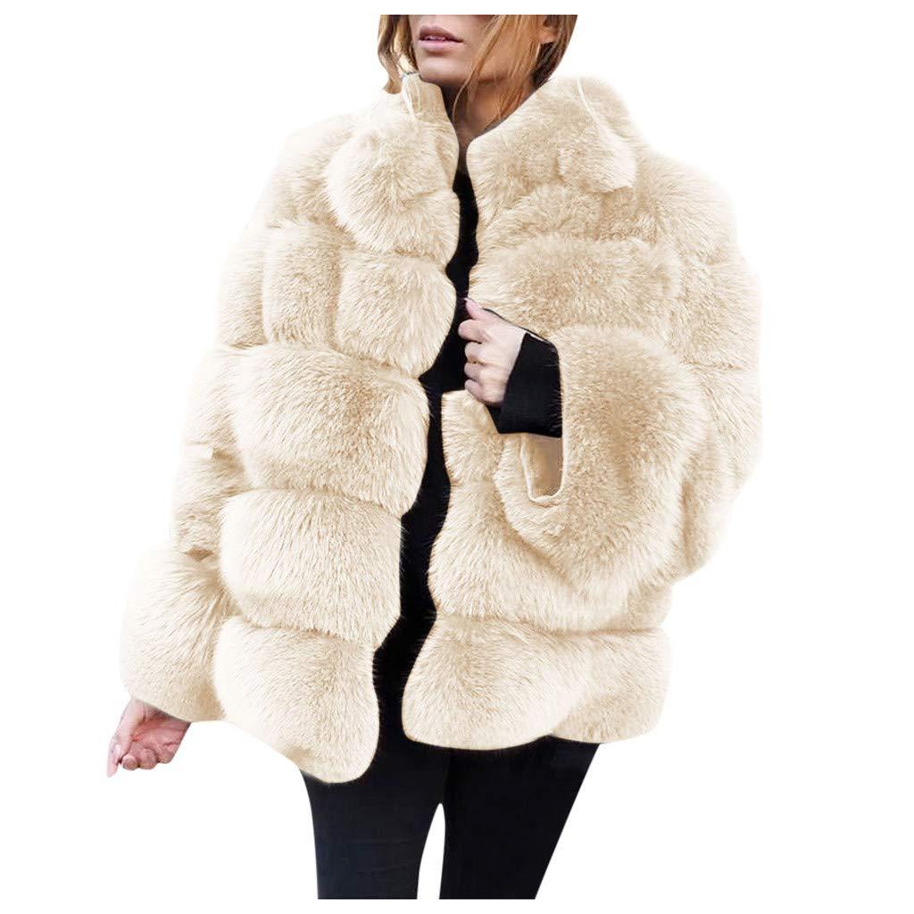 Dainzuy Women Winter Furs Jacket Luxury Faux Fox Fur Coat Long Sleeve Collar Outerwear Warm Furry Faux Overcoat Beige by Dainzuy Women Winter Clothes