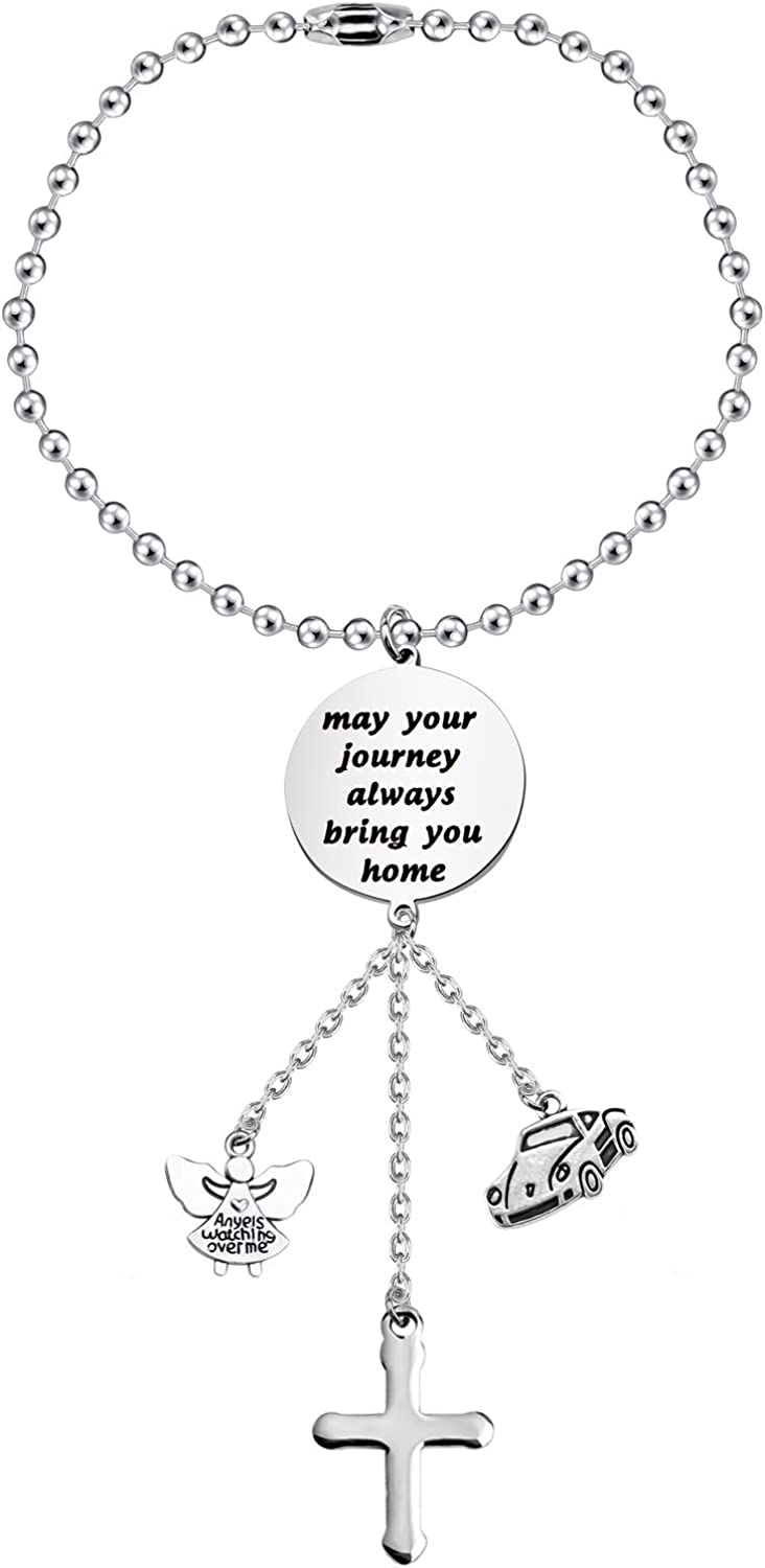AKTAP Guardian Angel Car Charms for Rear View Mirror New Driver Hanging Ornaments May Your Journey Always Bring You Home Car Interior Rearview Jewelry
