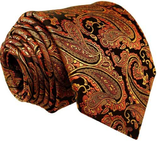 Shlax & Wing Necktie Paisley Black Orange Men's Tie Jacquard Weave Long Size