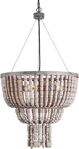 Eumyviv Circular Wood Bead Chandelier Retro Pendant Lamp, Industrial Metal Ceiling Lamp Kitchen Island Vintage Hanging Light Fixtures 3 Lights, Gray White 17102