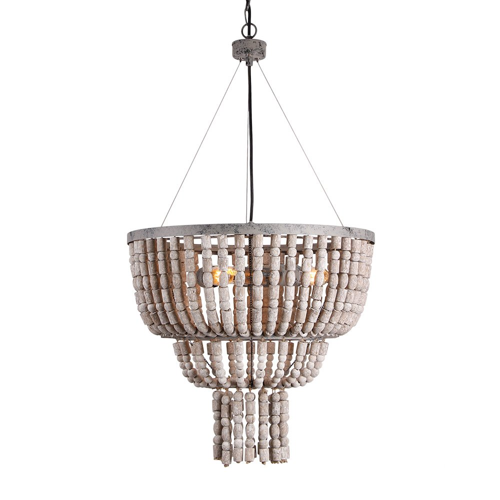 Eumyviv Circular Wood Bead Chandelier Retro Pendant Lamp, Industrial Metal Ceiling Lamp Kitchen Island Vintage Hanging Light Fixtures 3 Lights, Gray White (17102)