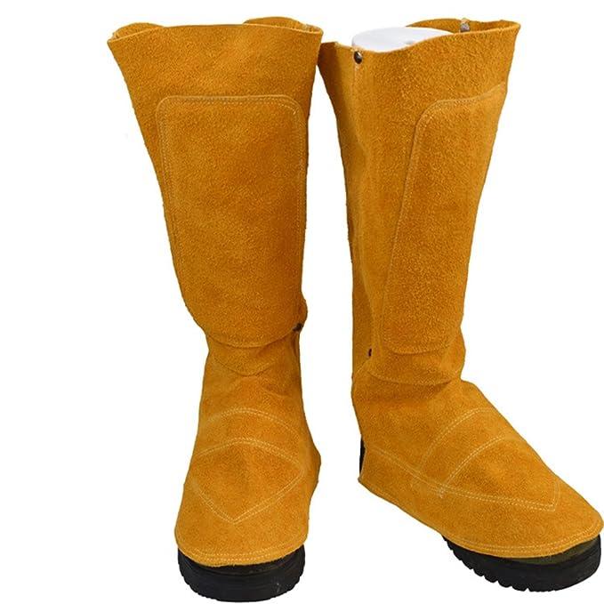Ocamo Botas de Soldadura Resistentes al Desgaste Aislamiento de Calor Botas de Soldadura Parches Cubierta del pie Protector: Amazon.es: Hogar