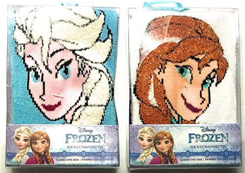Disney Frozen Girls Sock Slippers with Gift Box Bundle 2 Pair Anna/Elsa 6-10 shoe size
