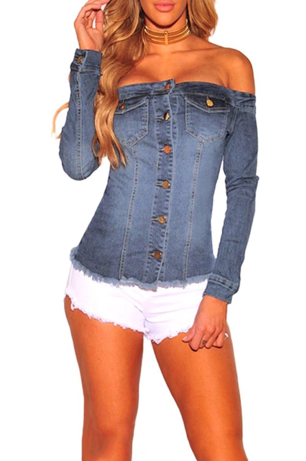 FOUNDO Women Sexy Off Shoulder Long Sleeve Pocket Button Down Denim Jacket Light Blue S