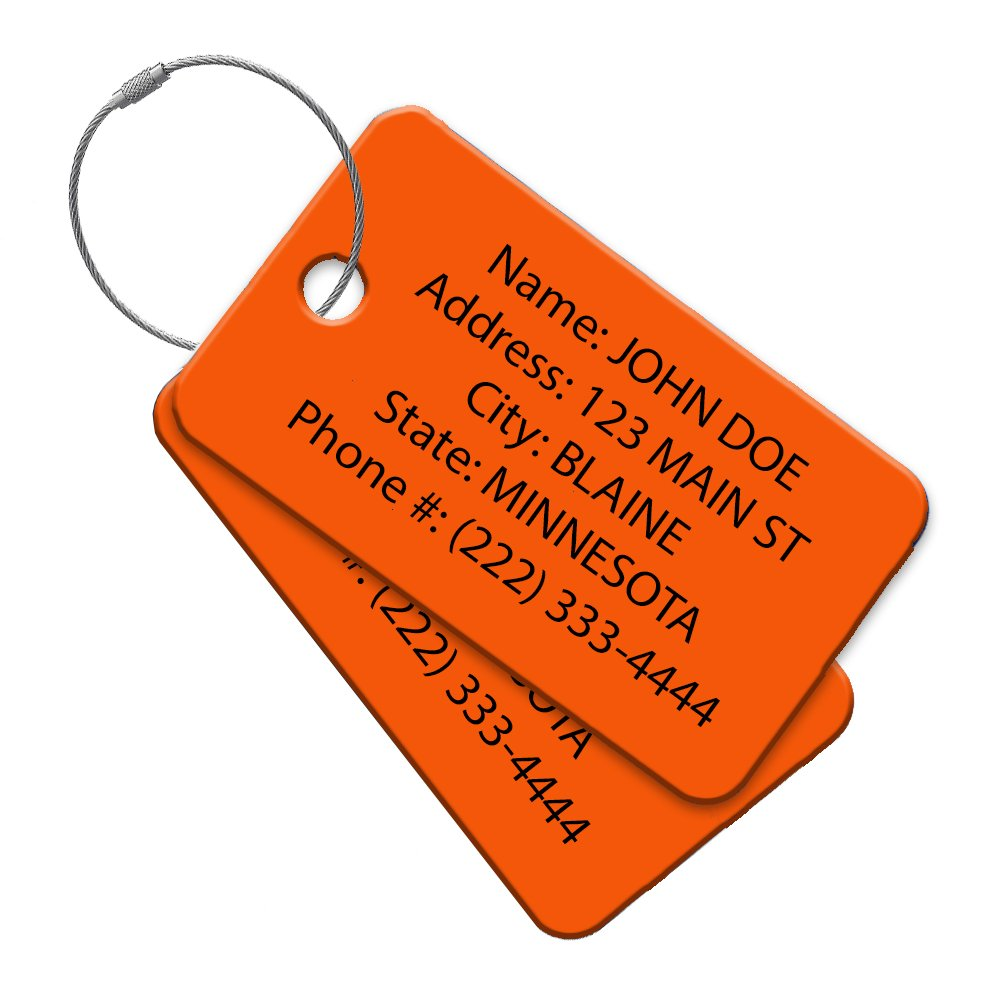 High Visibility Multi Pack Customized Travel ID Tag - Luggage Tag - Golf Bag ID - Personalized ID Travel Tag - Imprinted Luggage Tag - Soccer, bikes, sport equipment and more. (8)