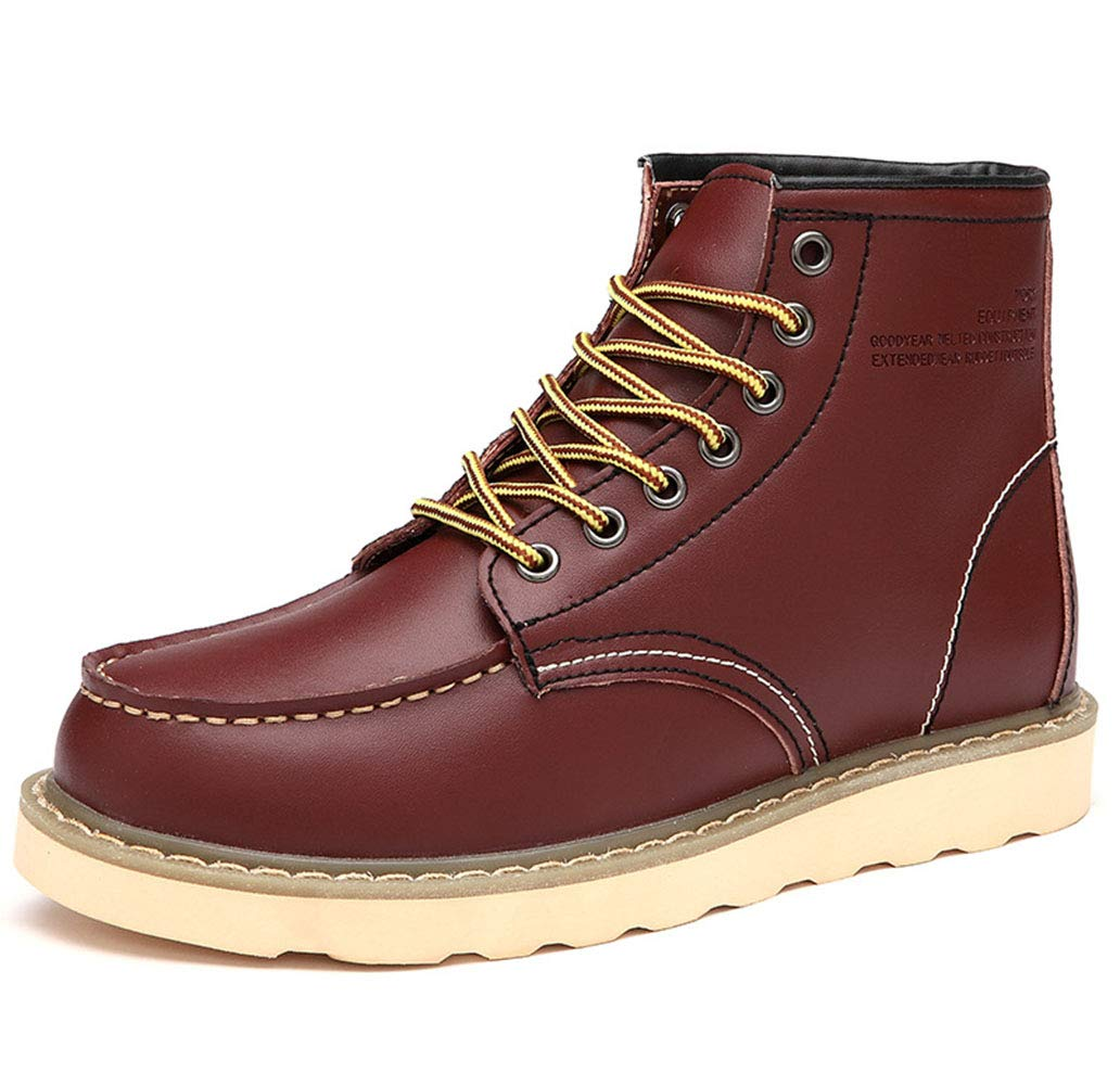 HRN Mens Martin Boots Leather Round Head high-top Casual Shoes lace up mid Tube Solid Color Tooling Boots England Outdoor