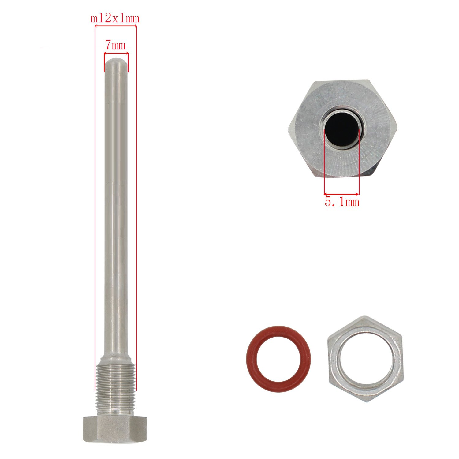 300mm for thermocouple Homebrew fermenter Temperature Control Controller Weldless thermowell m12x1 Stainless Steel 304 Immersion of 30 50 100 200 300 400 500