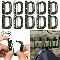 10 Pack Multipurpose D-Ring Grimloc Locking for Molle...