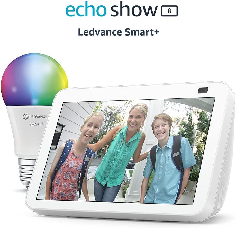 Nouvel Echo Show 8 (2e génération, modèle 2021), Blanc + Ampoule Connectée...