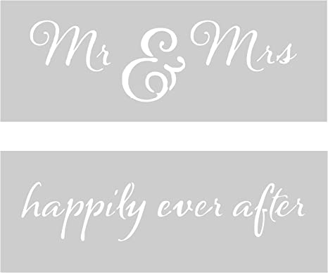 Durable /& Reusable Mylar Stencils Mr and Mrs Script Stencil