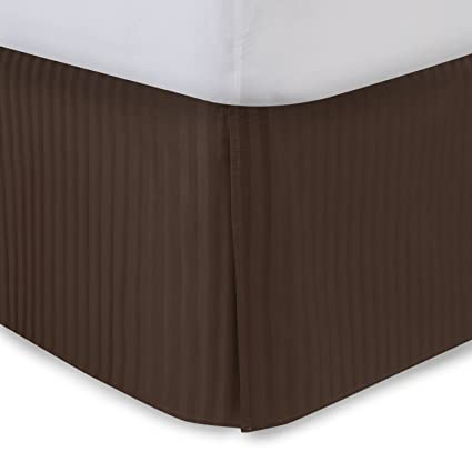 Harmony Lane Tailored Bedskirt With 18 Drop Queen Size Brown Sateen Stripe Bed Skirt With Split Corners Available In And 10 Colors