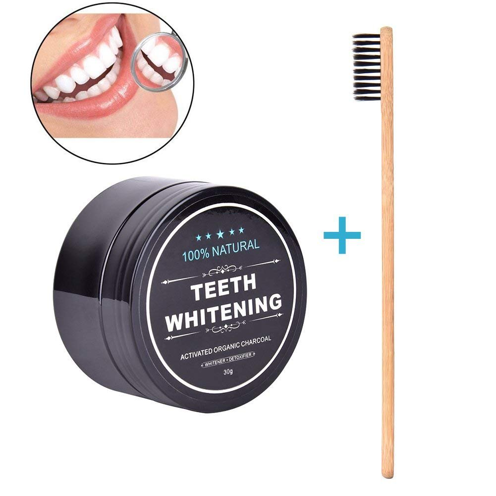 30g Activated Charcoal Teeth Whitening Powder Whitener Kit Teeth Clean Strengthen Health Care Oral Hygiene with Organic Bamboo Toothbrush Keersi