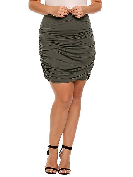 Zeagoo Plus Size Women Stretchy Bodycon Ruched Mini Pencil Skirt
