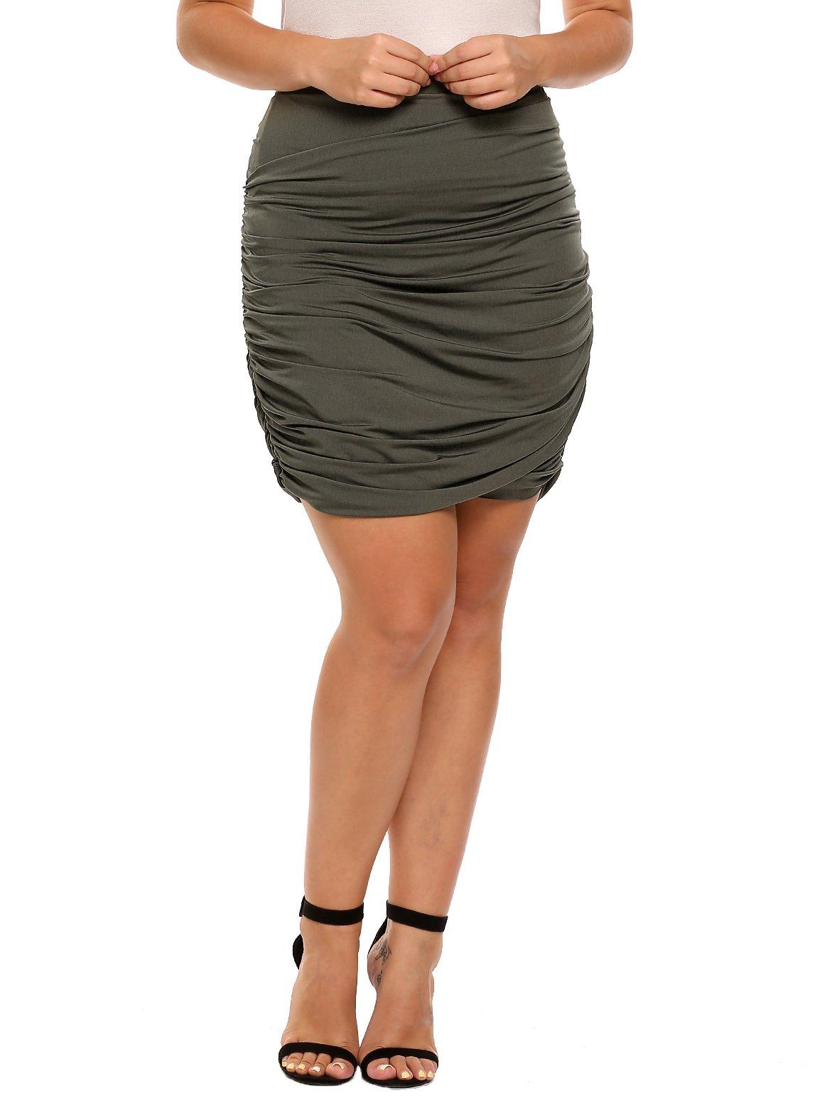zeagoo Plus Size Women Stretchy Bodycon Ruched Mini Pencil Skirt,Army Green,4X