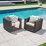 Cheap Venice Outdoor Dark Brown Wicker Swivel Club Chair with Beige Water Resistant Cushions (Set of 2, Dark Brown/Beige)