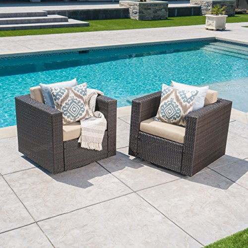 Venice Outdoor Dark Brown Wicker Swivel Club Chair with Beige Water Resistant Cushions (Set of 2, Dark Brown/Beige) (Brown Wicker Chair Dark)