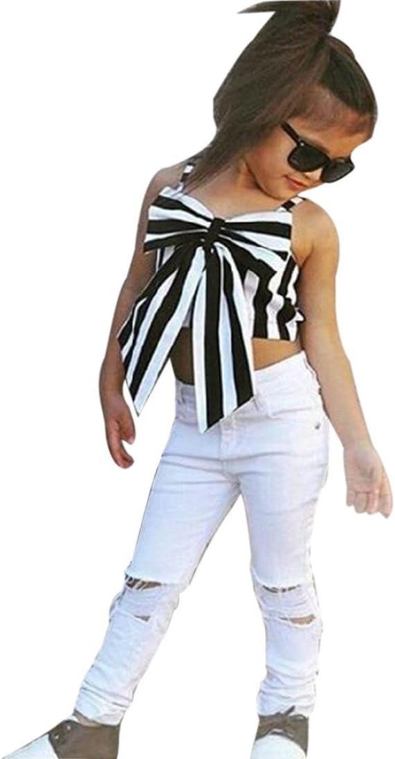 gotd Niñas Tops agujero pantalones diseño de rayas lazo T ...