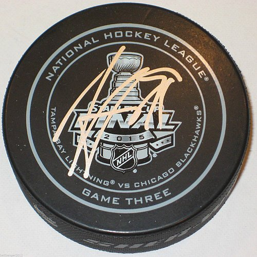 Steven Stamkos Tampa Bay Lightning Autographed 2015 Stanley Cup Game 3 Hockey Puck- Authentic Autograph