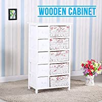 SUNCOO Retro White Wood Shabby Chic Nightstand End Side Bedside Table w/Wicker Storage (5 Drawers w/ Wicker Baskets)
