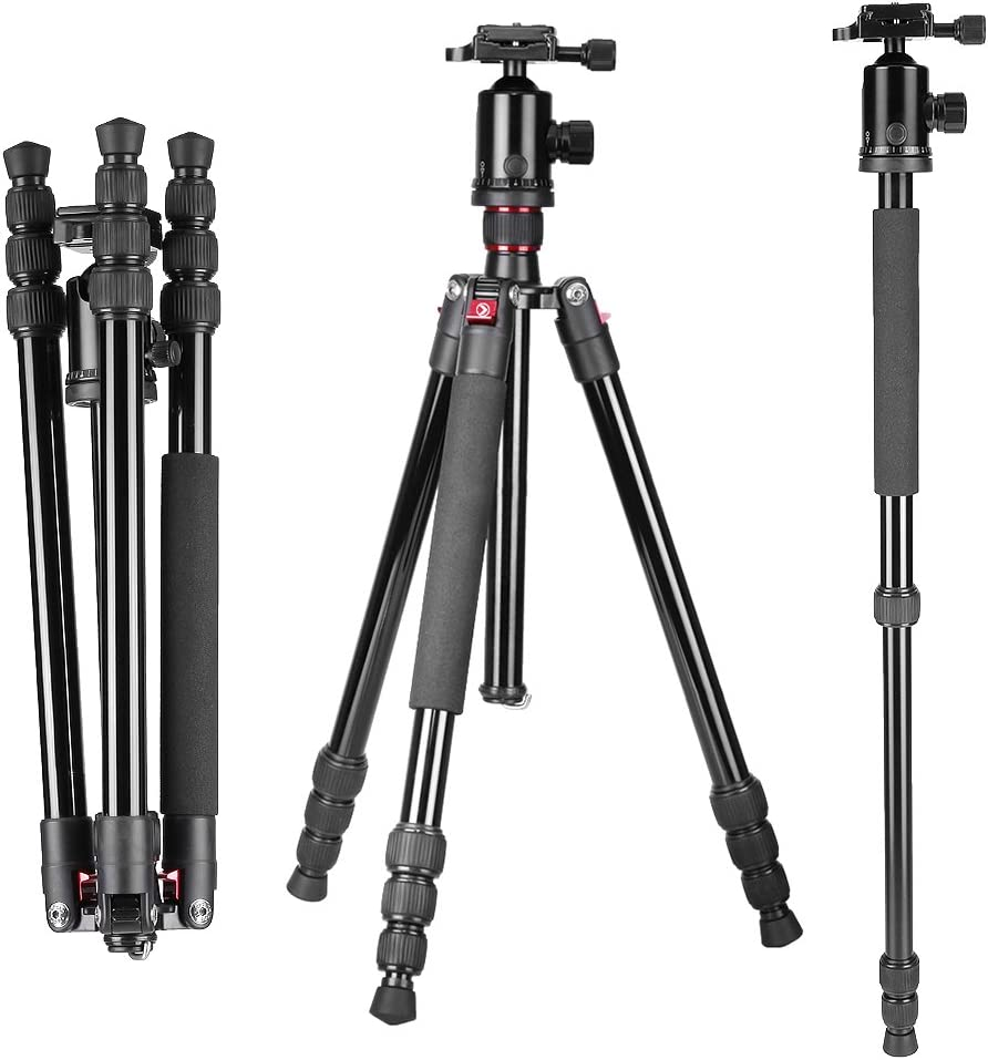 "Neewer Portable 64""/163cm Alluminum Alloy Camera Tripod Monopod with 360 Degree Ball Head, 1/4"" Quick Release Plate and Bubble Level, Load capacity 22lbs/10kg"