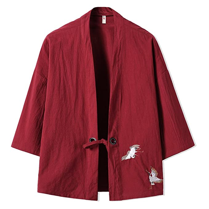 Chaqueta fina de los hombres chinos retro Kimono japonés Robe Bordado Coat-Wine ndpCQ