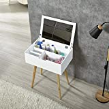 Facilehome Vanity Table Mirror Dressing Table Makeups Storage Organizer,White