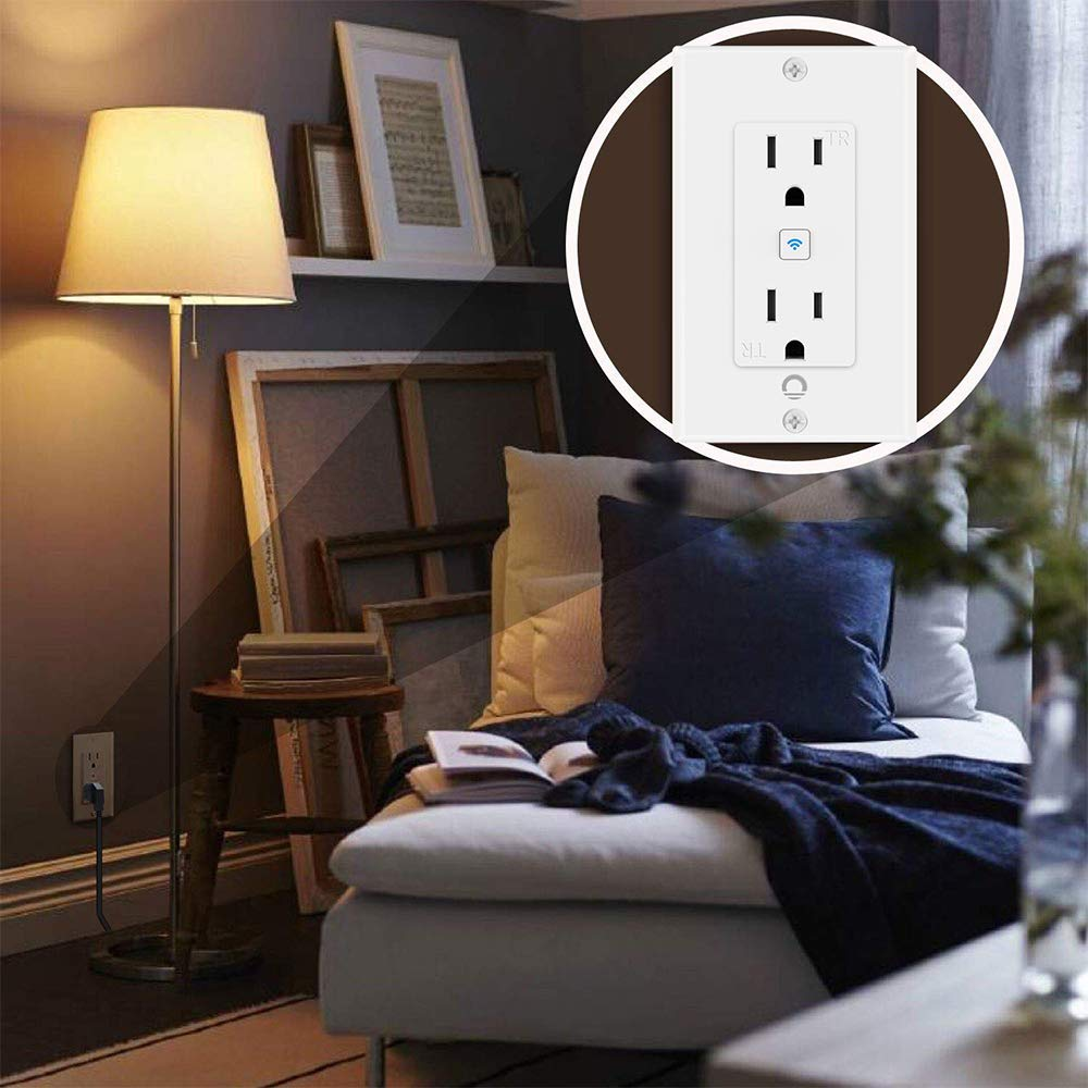 Lumary Smart WiFi In-Wall Outlet 15 Amp Tamper Resistant Split Duplex Receptacle - 2 Plugs, Compatible with Alexa, Google Home, and IFTTT(No Hub required)