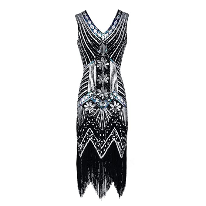 af7616a29ba43 FDelinK Women Flapper Dress 1920s Gatsby Art Deco Fringed V Neck Tassel  Sequin Cocktail Dress