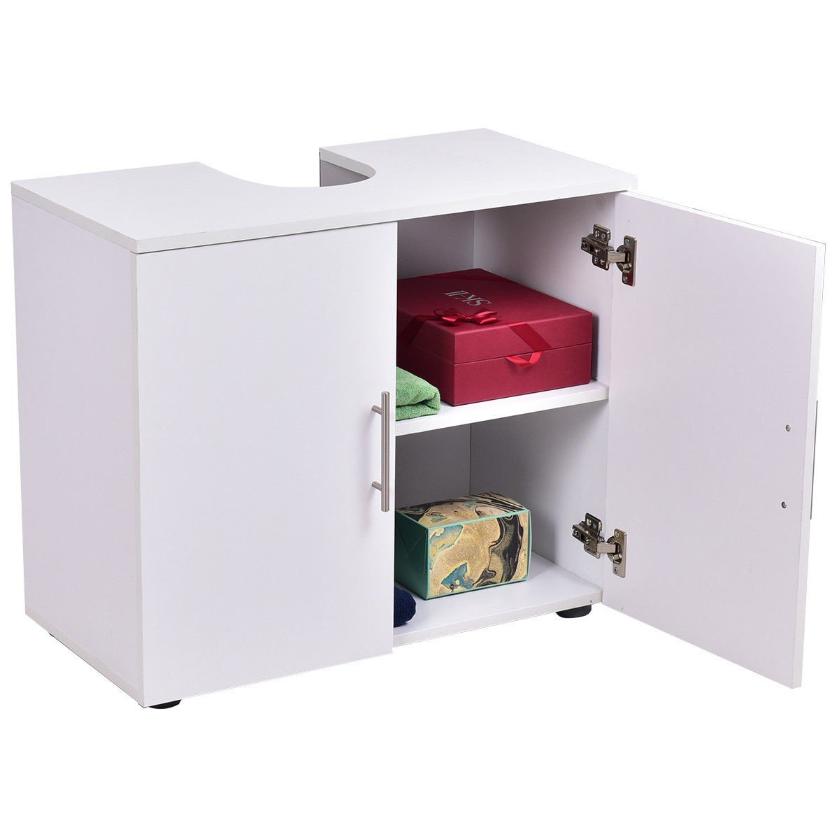 White Non Pedestal Under Sink Bathroom Storage Vanity Organizer Kitchen Cabinet 2 Door 2 Tier