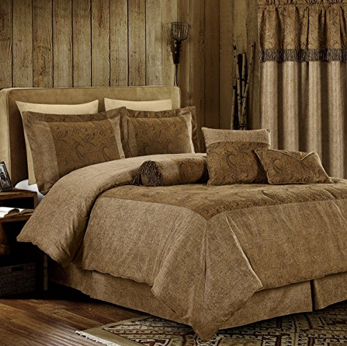 Chocolate Suede King Bedskirt - Chezmoi Collection Yosemite 7 Pieces 2-tone Brown Paisley Floral Embossed Microsuede Bedding Oversized Comforter Set (California King 108