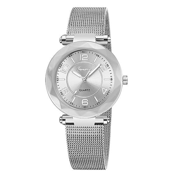 Nuevo Reloj de Pulsera analógico de Cuarzo analógico de Acero Inoxidable para Mujer, Nuevo y Lujoso Reloj Mujer Moda Reloj Mujer Oro Mymyguoe: Amazon.es: ...