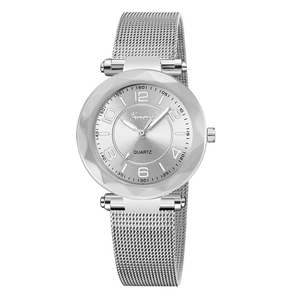 Stainless Steel Watches Women Ladies Casual Dress Quartz Wrist Watch,Outsta Quartz Round Case Watch Hot!!! (Silver)