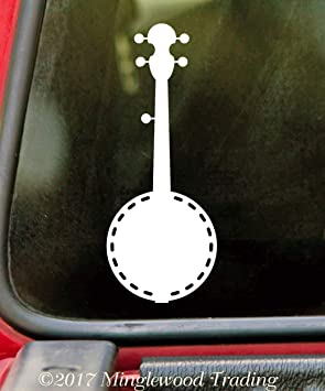 """Minglewood Trading White - Banjo 5"""" x 2"""" Vinyl Decal Sticker - Bluegrass Country Music Picking - 20 Color Options"""