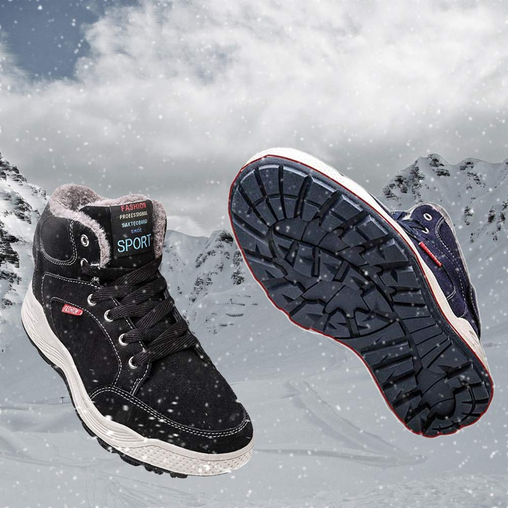 SITAILE Mens Snow Boots Winter Fur Lined Warm Shoes Waterproof Outdoor High Top Sneakers by SITAILE (Image #5)
