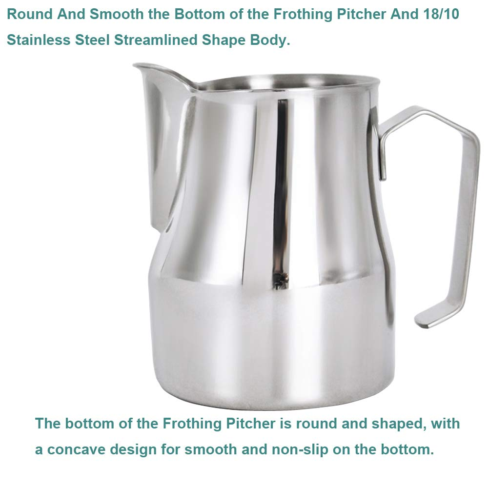 Frothing Pitcher Lengthen Mouth Handheld Milk Frothing Pitcher, 18/10 Stainless Steel 20oz/600ml Streamlined Milk Steaming Frothing Pitcher Body Suitable for Coffee, Latte Art And Frothing Milk Perfect for Espresso Machines by HENGRUI (Image #6)