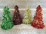 Set of 4 Colorful 10 Inch Tall Holiday Tinsel Christmas Trees for Table Top Decoration and / or Decorative Centerpiece