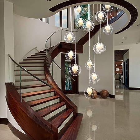 GWFVA Apartamento dúplex Escaleras de Caracol Araña Larga, Candelabros de Escalera 12 Bolas de Vidrio Luces múltiples Luces Colgantes Villa Creativa 50x180cm (Color: A): Amazon.es: Hogar